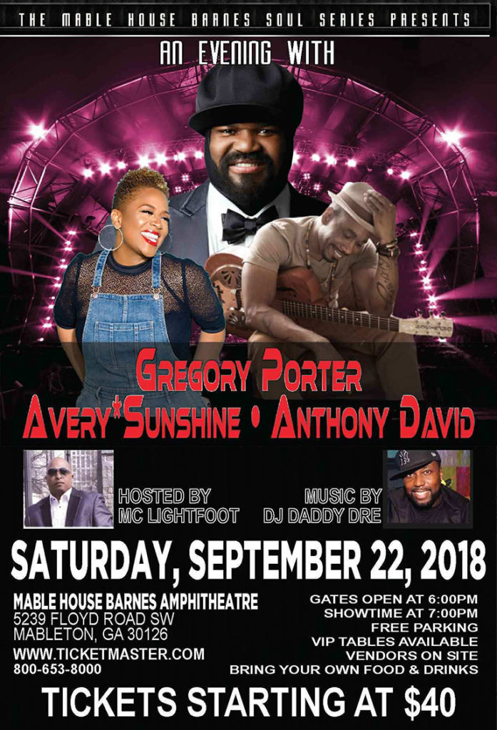 An evening with Gregory Porter, Avery Sunshine & Anthony David